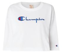 Crop-Shirt mit Logo-Stickerei