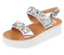 Sandalen in Metallicoptik mit Plateausohle