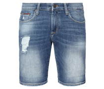 Stone Washed Slim Fit Jeansshorts