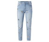 Stone Washed Slim Fit Jeans mit Stern-Aufnähern