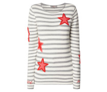Pullover mit Streifenmuster und Stickereien