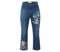 High Waist Cropped Jeans mit Prints