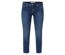 Cropped Jeans mit Zip-Details