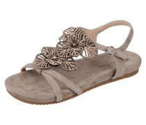 Sandalen mit floralem Ziersteinbesatz
