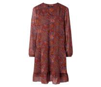 Kleid mit Paisley-Dessin und Volantsaum
