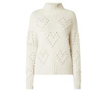 Pullover mit Herzmuster und Turtleneck