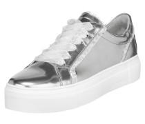 Sneaker in Metallicoptik mit Rüschenbesatz