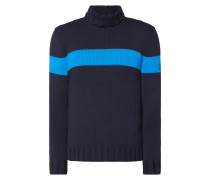 Rollkragen-Pullover mit Kontraststreifen