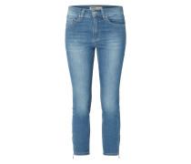 Stone Washed Slim Fit Jeans mit Reißverschlüssen