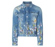 Jeansjacke mit Farbklecksmuster