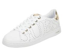 Sneaker aus Leder mit perforierten Sternen