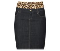 High Waist Jeansrock mit Leopardenmuster