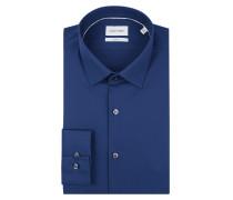 Slim Fit Business-Hemd aus Popeline mit Logo-Stickerei