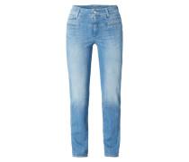 Stone Washed Slim Fit Jeans mit Zierpaspeln
