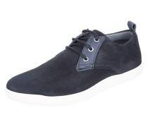 Sneaker aus Textil mit Lederbesatz