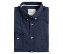 Modern Fit Freizeithemd aus Baumwoll-Elasthan-Mix mit New-Kent-Kragen