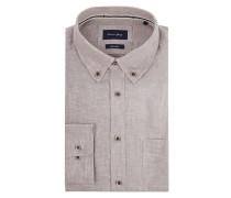 Modern Fit Freizeithemd aus Leine mit Button-Down-Kragen