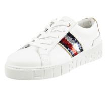 Sneaker aus Leder mit Wende-Pailletten