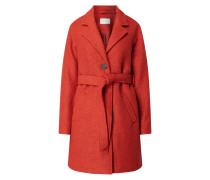 Mantel aus Bouclé mit Taillengürtel