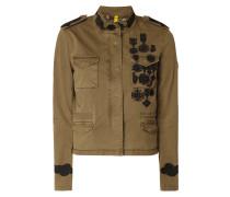 Jacke mit floralen Stickereien