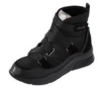 Sneaker Wedges aus Velours- und Glattleder