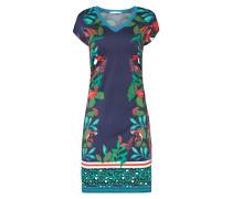 Kleid mit Blumenmuster und Kontrastbündchen