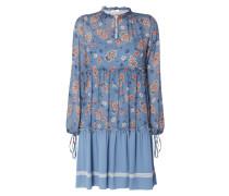 Kleid mit floralem Muster und Zierborte