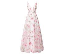 Abendkleid aus Organza mit floralem Muster