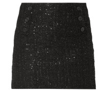Minirock aus Bouclé mit Pailletten-Besatz