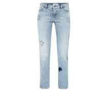 Bleached Leisure Fit 5-Pocket-Jeans mit Aufnähern
