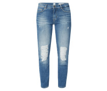 High Rise Slim Fit Jeans im Destroyed Look
