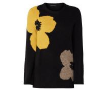 Pullover mit eingestrickten Blumen