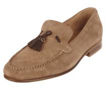 Loafer aus Veloursleder mit Zierquasten aus Leder