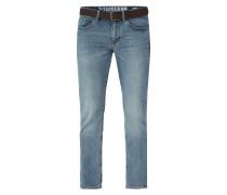 Stone Washed Slim Fit Jeans mit Gürtel