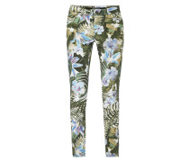 Skinny Fit Jeans mit floralem Muster