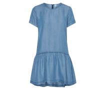 Kleid in Denimoptik mit Volantsaum
