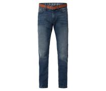 Stone Washed Regular Fit Jeans mit Gürtel