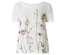 Blusenshirt aus Leinen mit floralem Muster