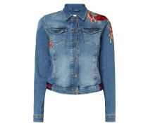 Jeansjacke mit floralen Patches