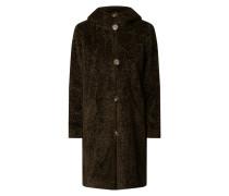 Mantel aus Teddyfell mit Kapuze