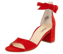 Sandalette aus Veloursleder mit Zierschleife