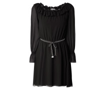 Kleid aus Chiffon mit Rüschen und Volantbesatz