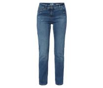 Stone Washed Straight Fit Jeans mit Zierperlen