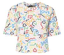 Cropped Sweatshirt mit Allover-Muster