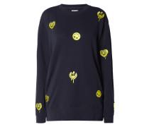 Sweatshirt mit Smiley-Stickereien