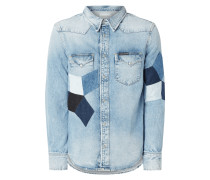 Modern Fit Jeanshemd mit Patches