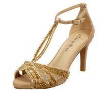 Sandalette aus Leder mit Ziersteinbesatz