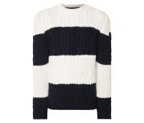 Pullover aus Schurwolle mit Zopfmuster