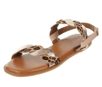 Sandalen aus Leder in Metallic-Optik