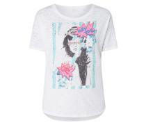 T-Shirt mit Print und Ziersteinbesatz